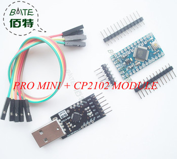 2PCS=1PCS CP2102 Module + 1PCS Pro Mini Module Atmega328 5V 16M For Arduino Compatible With Nano