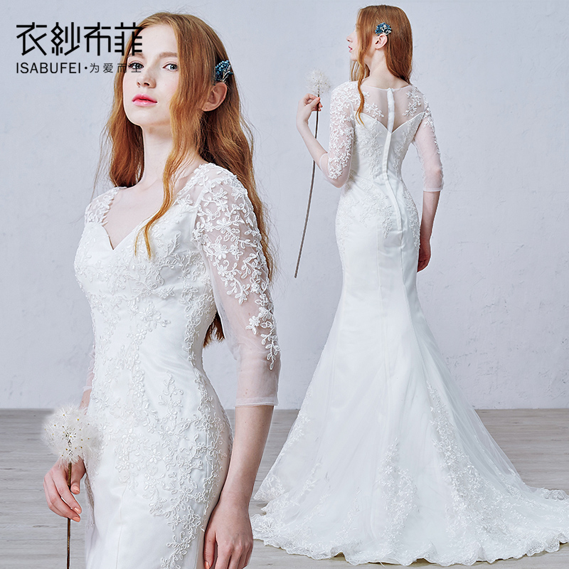 Compre robe de mariage querida meia manga for Aliexpress robes de mariage