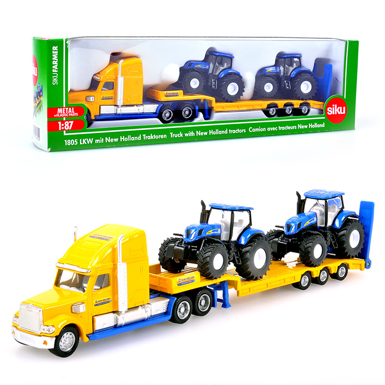 Free Shipping Siku 1837 Low Loader With JohnDeere Tractors flatbed trailer truck (bulk) 1:87 alloy model car toy gift collection(China (Mainland))