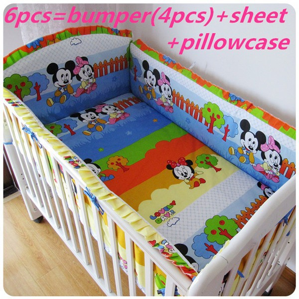Promotion! 6PCS Mickey Mouse Customize baby bed around set unpick and wash bedding piece set (bumper+sheet+pillow cover)<br><br>Aliexpress