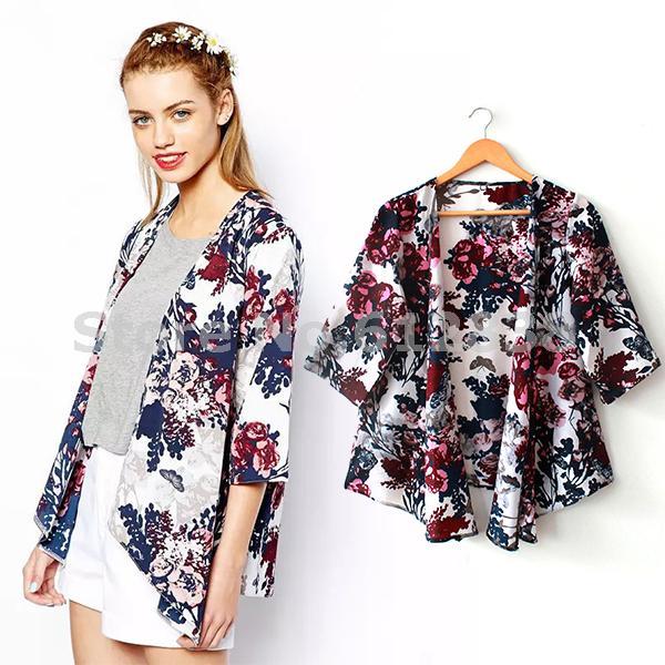 2015 Free shipping Trustworthy New Vintage Floral Loose Shawl Kimono Boho Chiffon Cardigan Women Coat Jacket(China (Mainland))