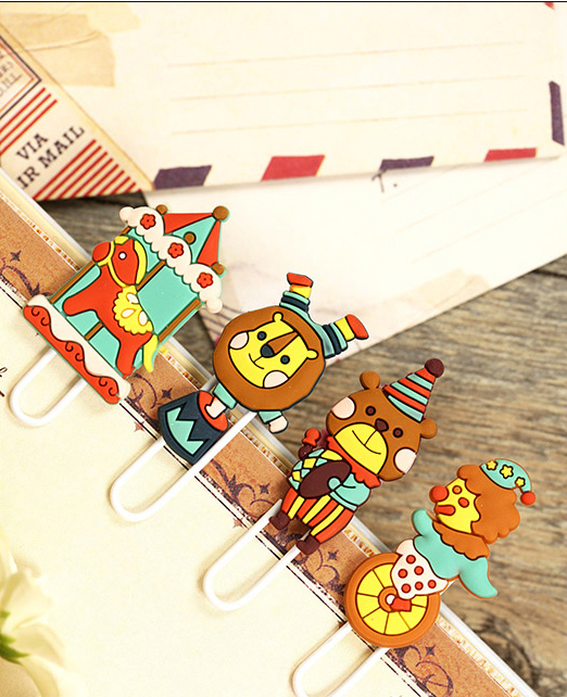 4PCs/set Lovely Creative Circus Party Design Metal Paper Clip DIY Multifunction Bookmark Book Page Holder Office School Supplies(China (Mainland))
