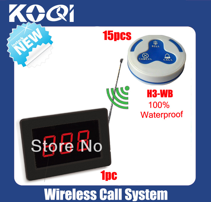 Wireless call bell system of 1 plashing Display K1000 + 15 waterproof 100% waiter buzzer K-H3 DHL free shipping free(China (Mainland))