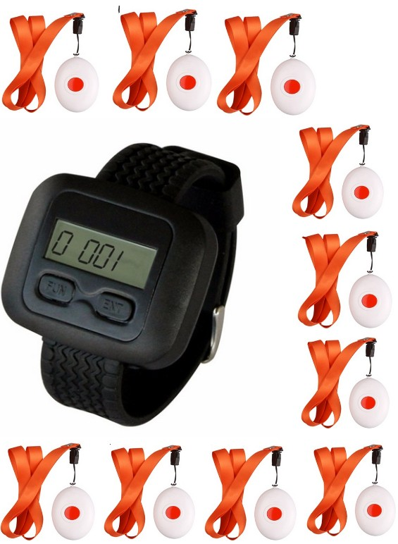 Nurse call system for Old, Disabled people, Patient, 1 clinically watch pager, 10 hospital bells,wireless emergency calling <br>