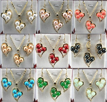!~ 11.22 9 color-white/pink/red/yellow/black/blue/green shell pearl/ jade pendant earring can choose Discount 35%(China (Mainland))