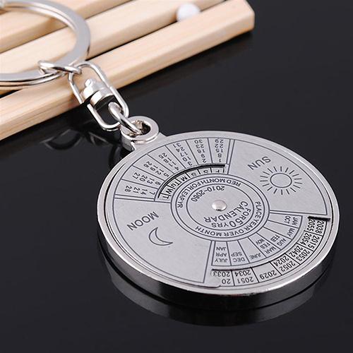 New 50 Years Perpetual Calendar Keyring Keychain Silver Alloy Key Chain Ring Keyfob <br><br>Aliexpress