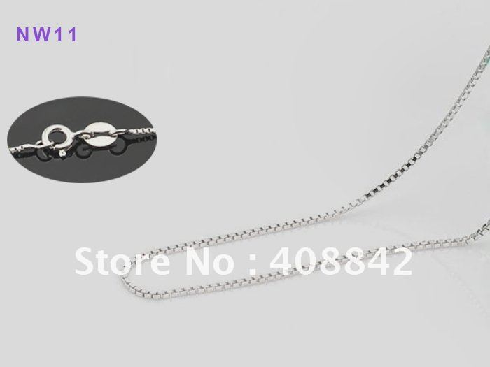 "Free shipping Mix Wholesale 0.8mm 16"" 925 Sterling Silver Jewelry Necklace NW11-1 Box Chain Rhodium Plated Oxidation Resistance(China (Mainland))"