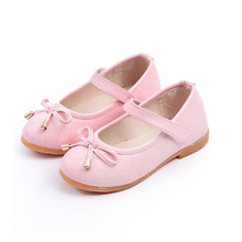 PU Leather Bow Kids Shoes For Girl Princess Party Wedding Dance Baby Girl Shoes For Children Pink Yeezy Shoes Spring Summer(China (Mainland))