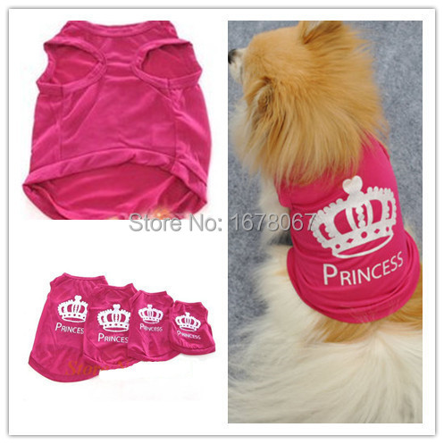 Hot Selling Cute Pet Dog Puppy Clothes Crown Vest T-Shirt Size XS/S/M/L Rose Red Color-Free Shipping(China (Mainland))