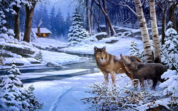 wolves wolf art paintings landscapes winter snow rivers cabin houses rustic trees forest woods Home Decoration Canvas Poster