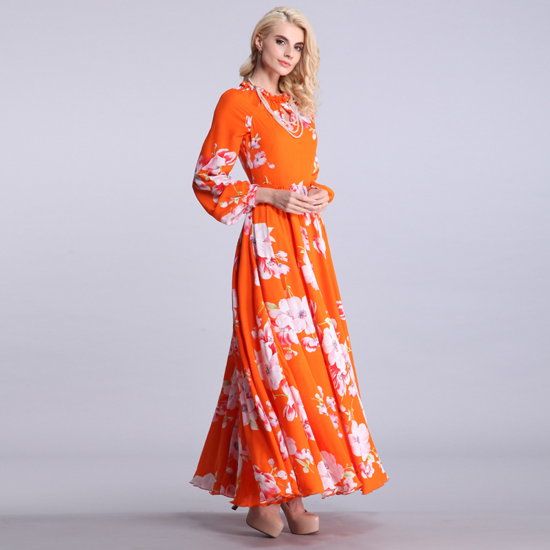 plus long dress orange
