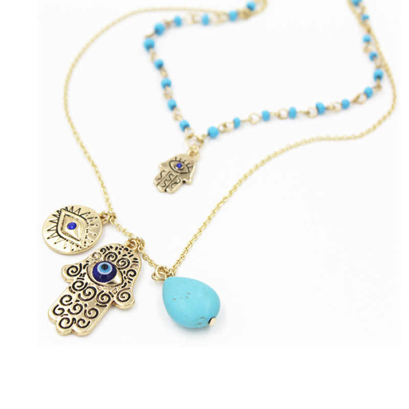 Vintage Multilayer Gold Plated Chain Fatima hamsa Hand Pendants Necklace Luck Hand Turquoise Palm nice Necklace collares(China (Mainland))
