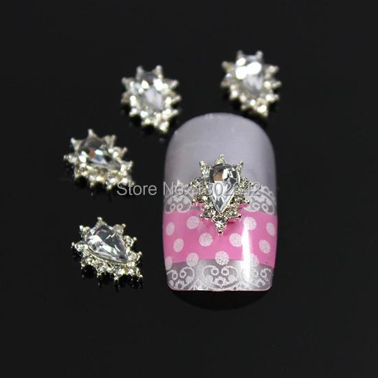 B386 10pcs/lot Drop Crystal Wheel Gear Rhinestone Alloy Nail Art 3D DIY Glitter Nail Tips & All Accessories(China (Mainland))