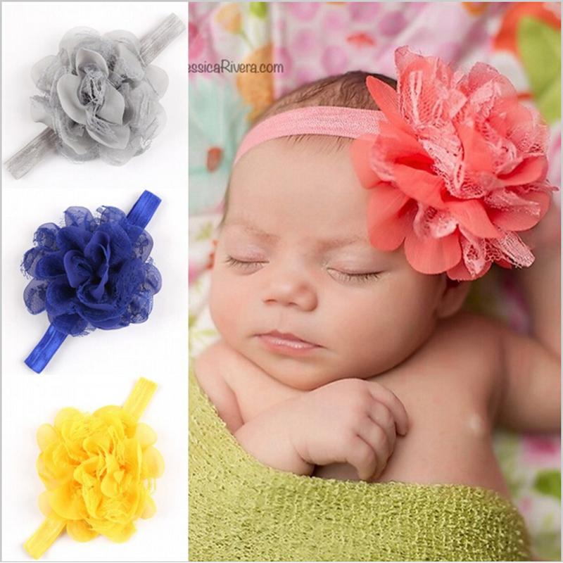 Newborn Baby Gauze Fascinator 1PZ Baby Flower Headband Girls Headwear Hair Band Of Elastic Hair Accessories w--063(China (Mainland))
