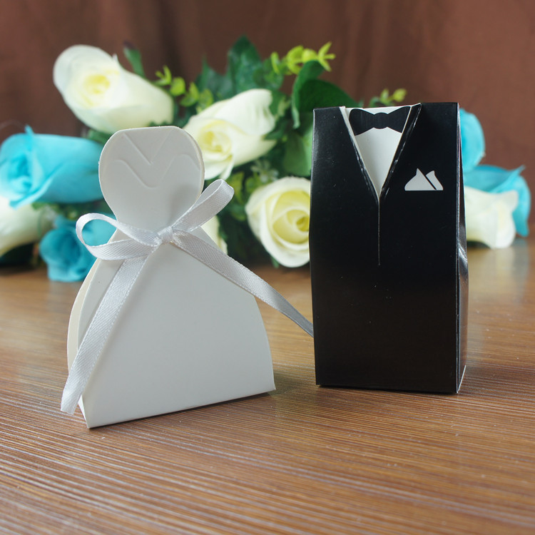 Bride and Groom Gown Candy box Wedding Favor Boxes Tuxedo Gift box Cases