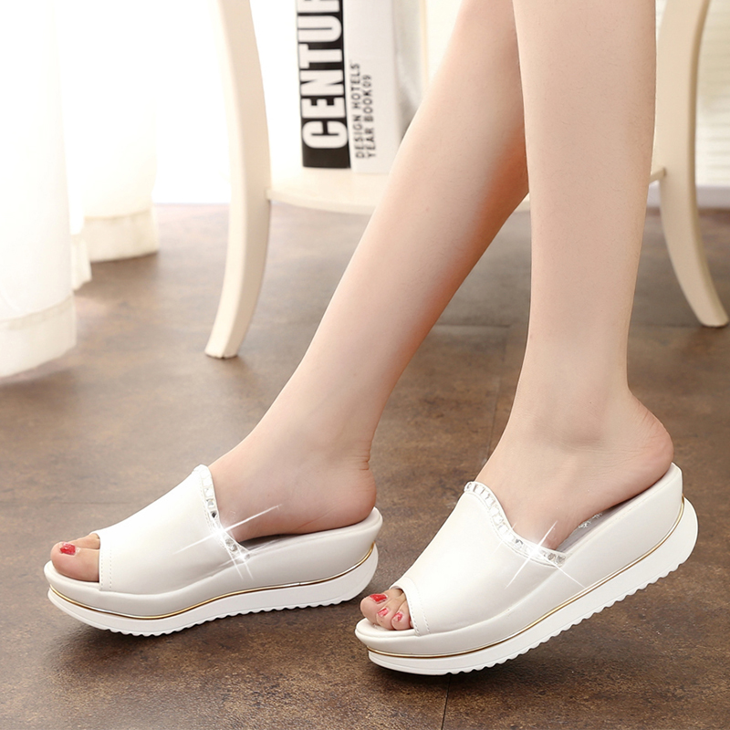 Summer 2016 New Fashion Leather Sandals and Slippers Women Platform Sandals shoes Wedges Platform shoes With Comfort 6 Color Y71(China (Mainland))