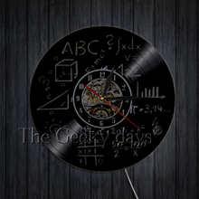 Математическая алгебра геометрические виниловые пластинки настенные часы математика, наука Кварц декоративный 3D часы настенные часы Совр...(China)
