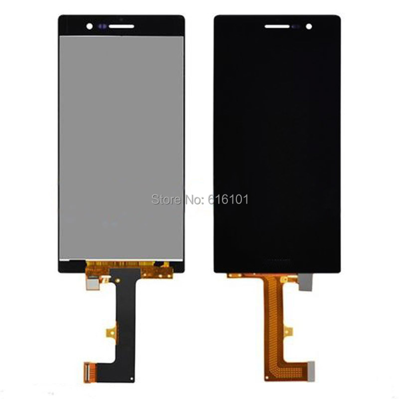 1pc/lot LCD Display Screen Touch Digitizer Glass Lens Assembly For Huawei Ascend P7 Black Free Shipping