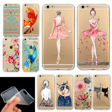Phone Case Cover For iPhone 6 4.7″  Ultra Soft Silicon Transparent Cute Girl Flowers Animals Cartoon Patterns Free Shipping Mix
