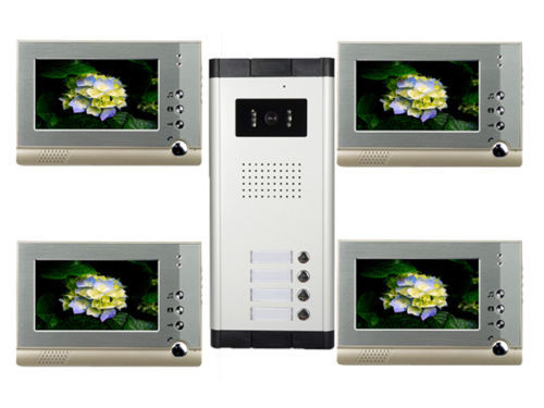 7 Inch LCD monitor Apartment 4 Unit Intercom Entry System Wired Video Door Phone Audio Visual 1V4<br>