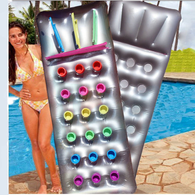 Inflatable 18 Pocket Fashion Sun Beach Swimming Pool Lounger Lilo Air Bed(China (Mainland))