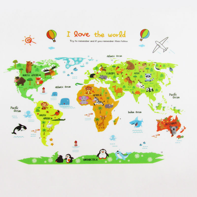 Colorful world map wall sticker decal vinyl animal cartoon for Wall map for kids room