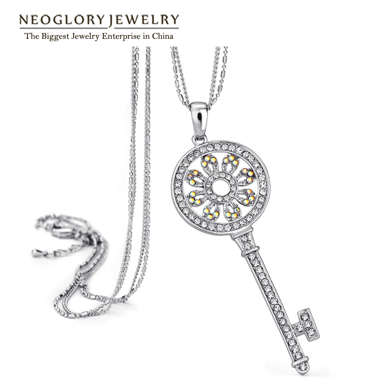 Neoglory Rhinestone Sweater Chain Long Necklaces Pendant Women Key Brand Jewelry Elegant Office Lady 2015 New Birthday Gift GN(China (Mainland))