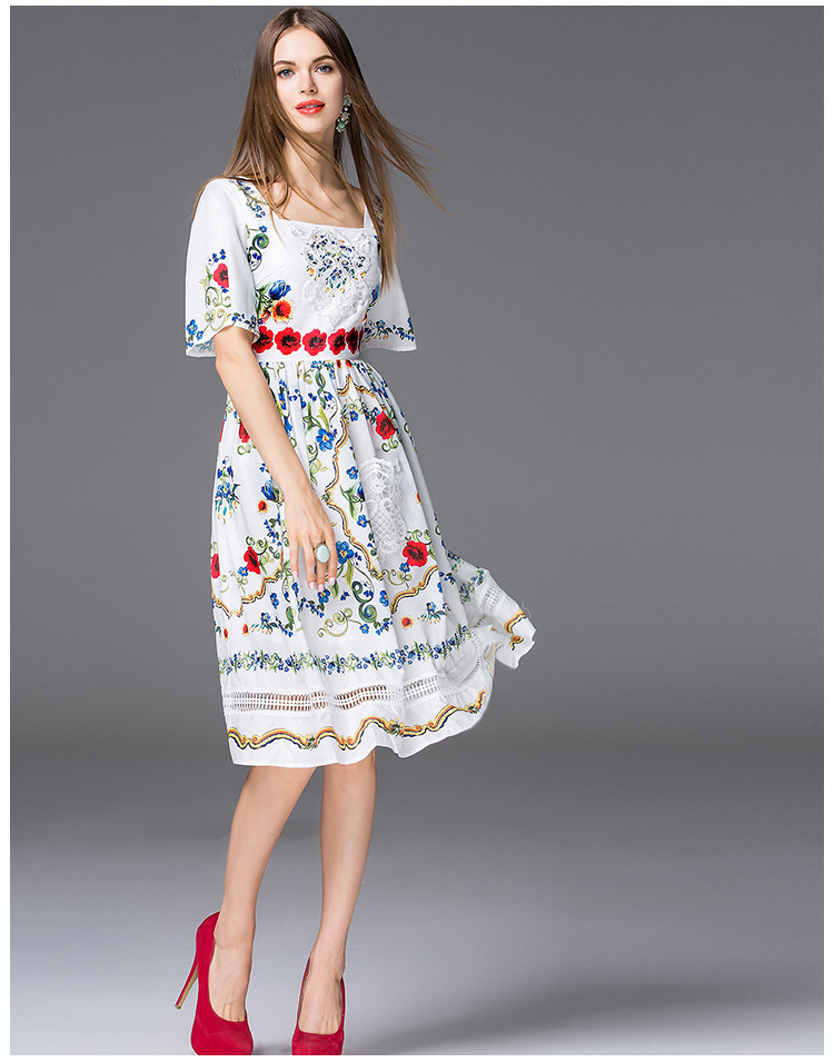 Women Runway Dress 2017 Summer Printed Embroidered Flower Clothing Flare Sleeve Square Collar Women Evening Party Dress Vestidos
