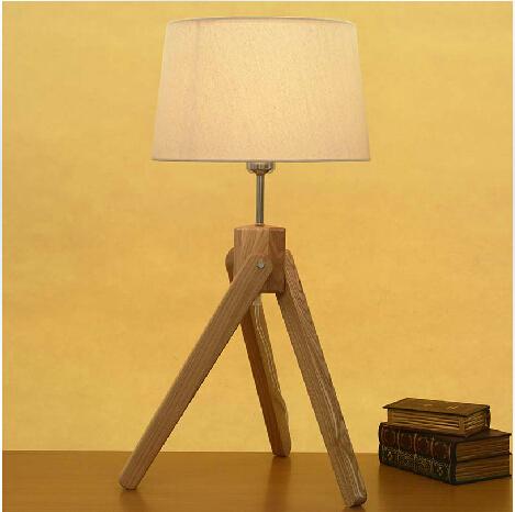 Free Shipping Hot selling E27 Modern table lamp wood lamp led light Cloth lamp shade Three legs lamp Desk Light kids Room Gift(China (Mainland))