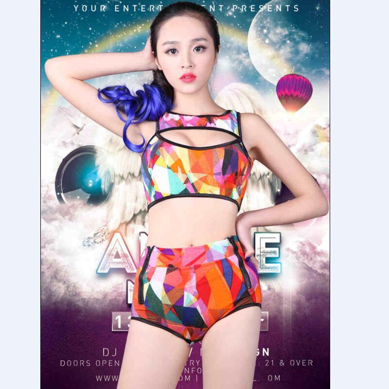 Female singer ds costume dj dance symphony colours paillette bra short costumes girlsuit for stage show