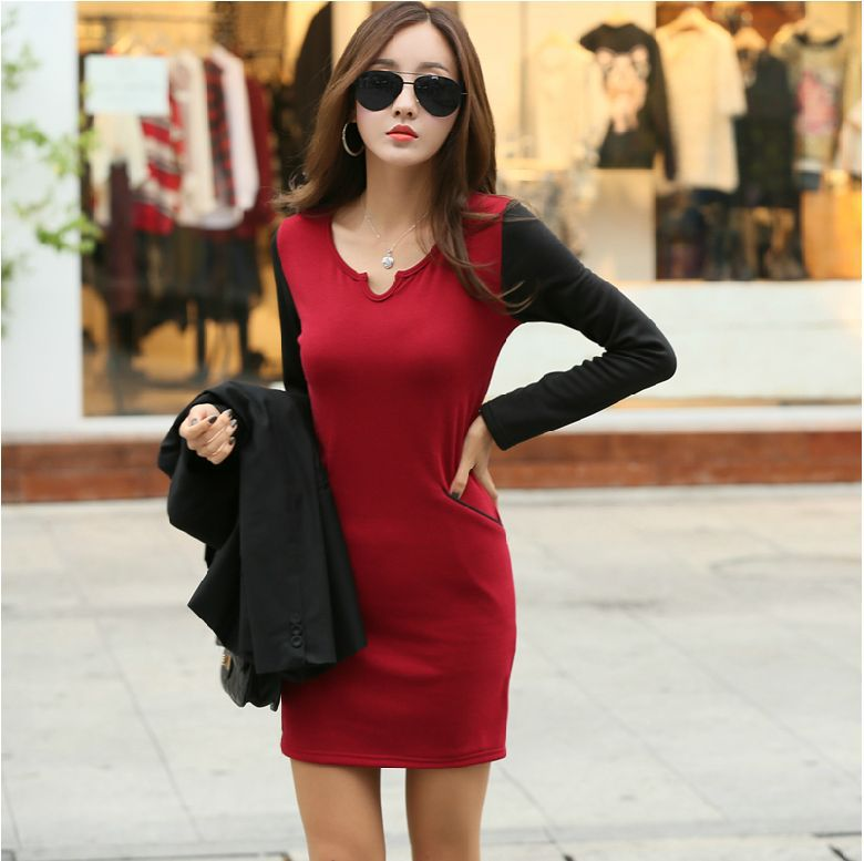 2014 Women Dresses Warm Korean Style Fashion Plus Thick Velvet Slim Bottoming Long Sleeve Winter