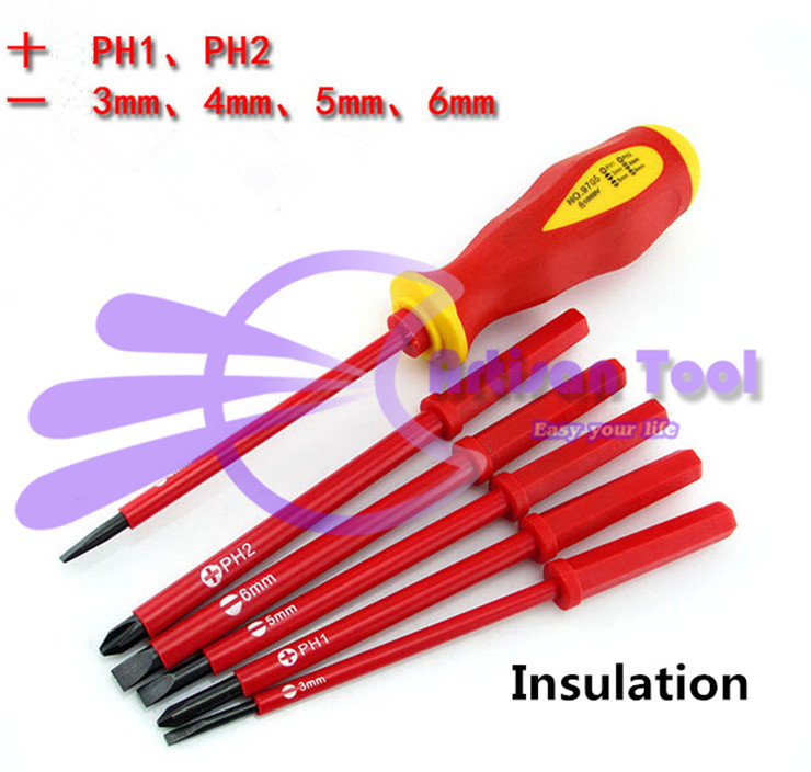 High Voltage Insulation Screwdriver for Electrician 2pcs slotted+4pcs phillips screwdriver set with a handle+bag free shipping(China (Mainland))