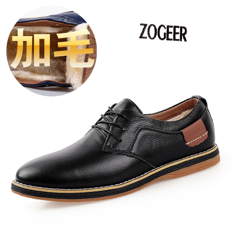 winter warm s genuine leather flats dress shoes