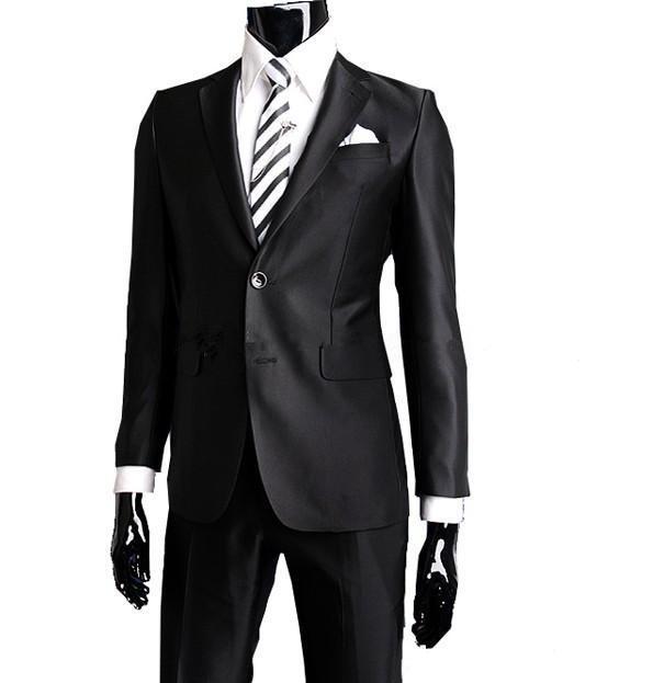 Custom Made Black Men Suit Tailor Made Suit Bespoke Men Wedding Suit set Slim Fit Groom Tuxedos For Men(Jacket+Pants)(China (Mainland))
