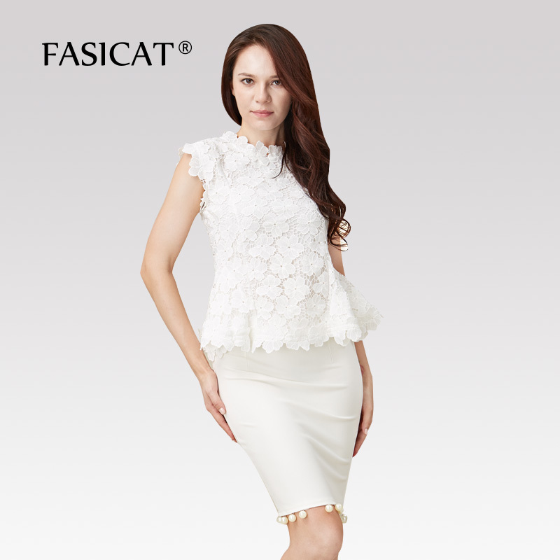 FASICAT High Quality Formal Women Skinny Suits White Lace Flower T shirts With Knee Skirts Two Piece Sets 190013Одежда и ак�е��уары<br><br><br>Aliexpress