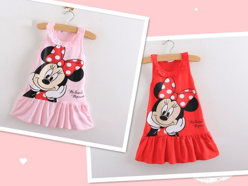 Adorable Minnie girl dress/Summer cool girls frock/2016 good quality baby girl clothing(China (Mainland))