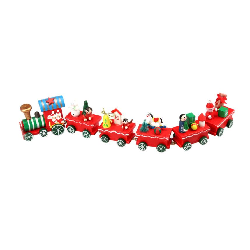 Modern Toys for Children 6 Pieces Wood Christmas Xmas Train Decoration Decor Gift Kids Toys WOct19(China (Mainland))