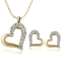 2015 New Fashion Lovely Cute Double Heart Necklace and Earring Crystal Jewelry Sets For Women Girls Jewellery(China (Mainland))