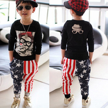 low price Kids Boys Stylish Printed Harem Pants Hip hop Star Stripes Casual Pants Free Shipping(China (Mainland))