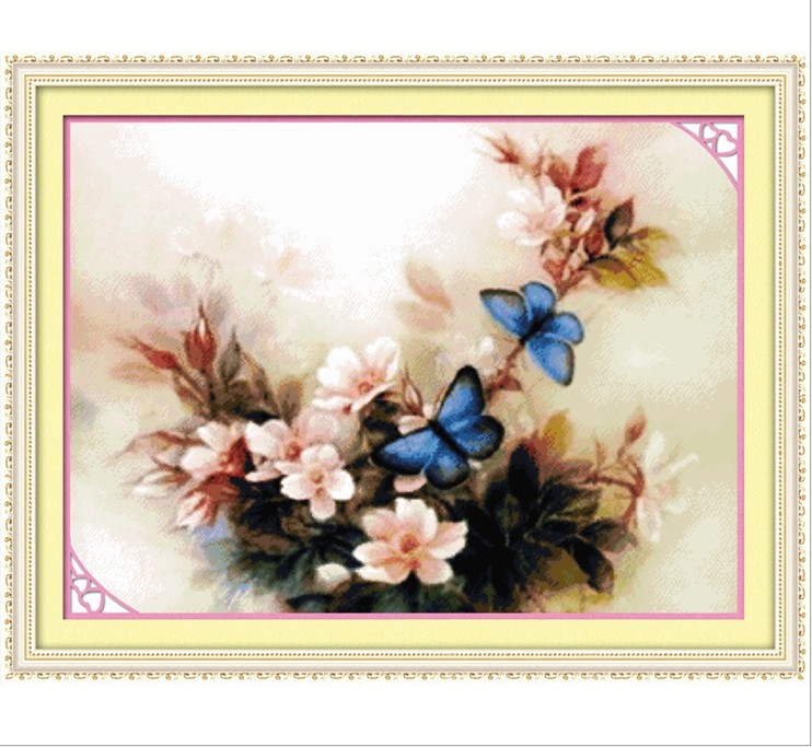 Needlework 3D kits chinese painting print blue butterfly cotton DIY cross-stitch knit fabric craft tools embroidery - Happy flowers open store