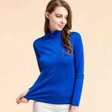 Camisa das mulheres T 100% Real de Seda De Gola Alta Assentamento camisa de manga comprida 2018 OUTONO INVERNO camisa Primer Plus Size Spandex top(China)