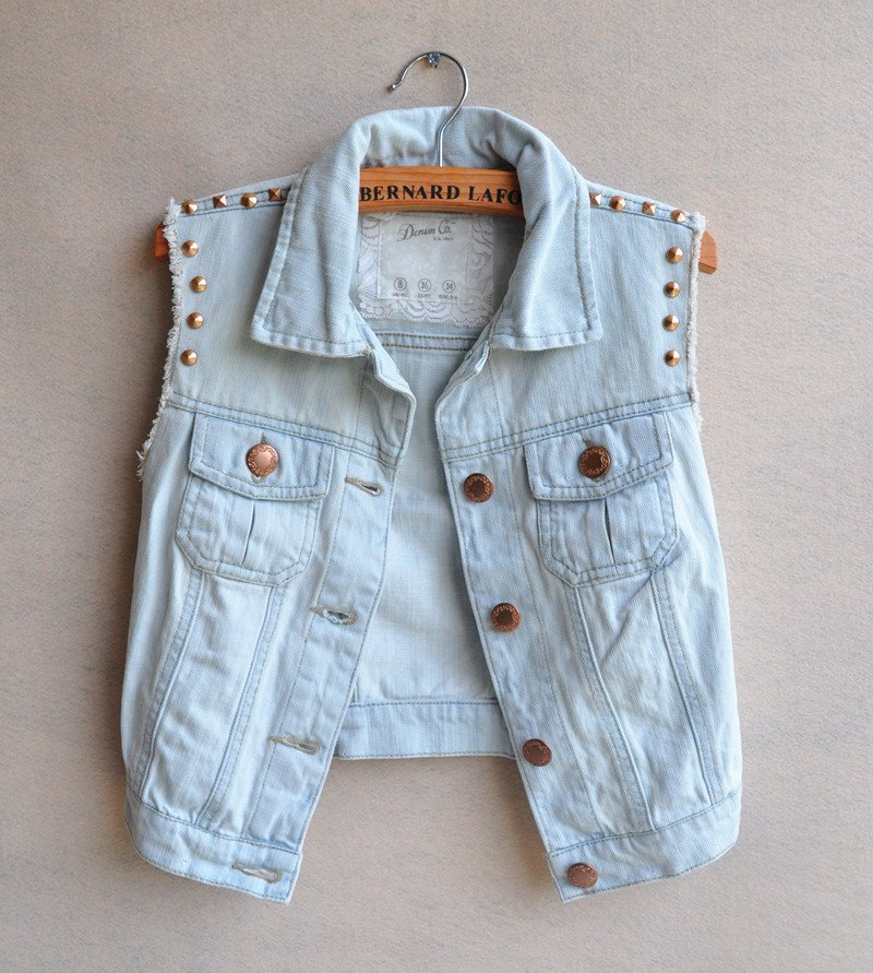 Popular Women Short Sleeveless Denim Jacket Blue-Buy Cheap Women ...