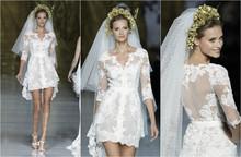 Custom Made Beach Casual Bride Dress Summer V-neck Sheer Back White Lace Short Wedding Dress With Sleeves(China (Mainland))