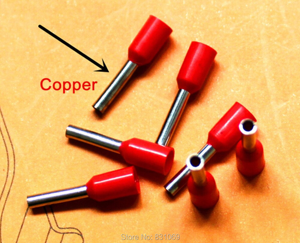 1000pcs/Lot Free Shipping 7 AWG 10mm2 Insulated Cord End Terminal Wire Ferrules E10-12<br><br>Aliexpress