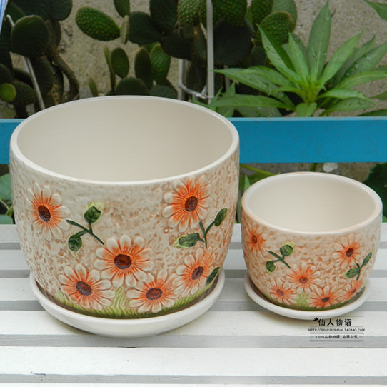 Ceramic Pots Indoor Potted Flower Pots Tray With Meaty