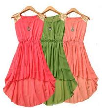 2016 Summer fwomen irregular Asymmetric chiffon dress,14 color plus size S -- XXXL paillette party dress girl dresses ,(China (Mainland))