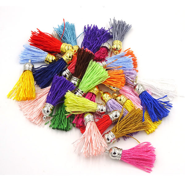 Mix Color Satin Silk Tassel 40mm Tassels For Jewelry Diy Cell Earring Necklace Charms Mobile Phone Straps Accessories 100cs/lot(China (Mainland))