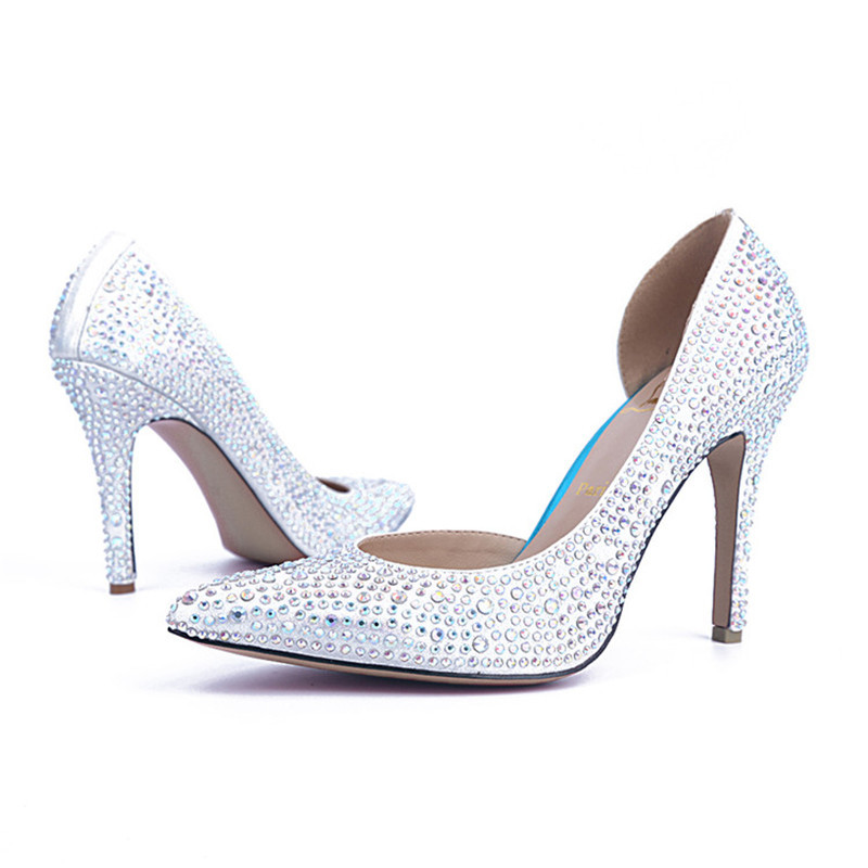 Free shipping fashion wedding shoes for lady pointed toe silver crystal party dresses shoes sexy party prom high heels 2 colors<br><br>Aliexpress