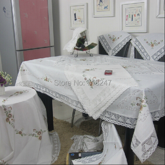 Hot Sale Elegant White Cotton / Linen Embroidery Lace Tablecloth Embroidered Table Cloth Linen Cover Home Decoration Textile 029(China (Mainland))
