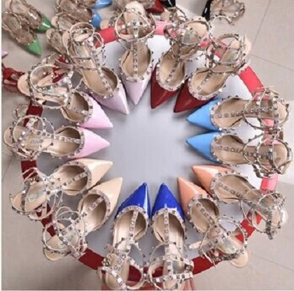 6cm/8cm/10cm sandals genuine leather pointed toe rivets 3straps pumps heels sandals 2015 sexy rockstud valentine shoes(China (Mainland))